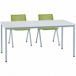 TABLE POLY GRIS 140×70...